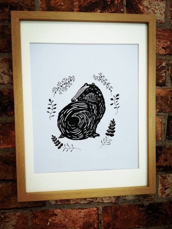 Hand drawn black and white original badger drawing picture framed