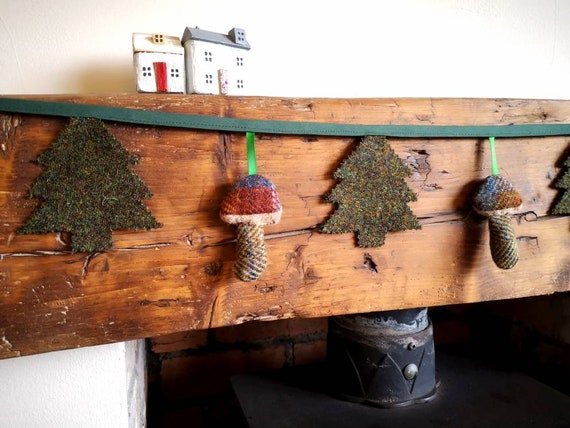 Hand made Harris Tweed Christmas trees and little mushrooms bunting