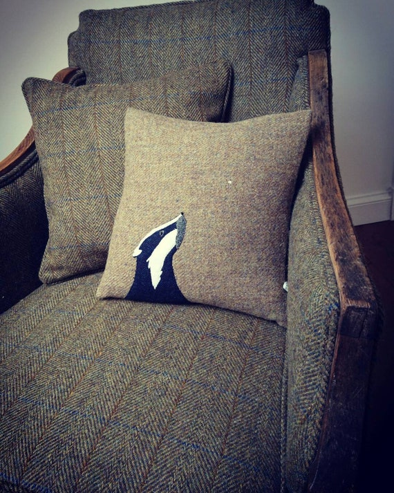 Hand Crafted Harris Tweed Badger embroidered Cushion cover