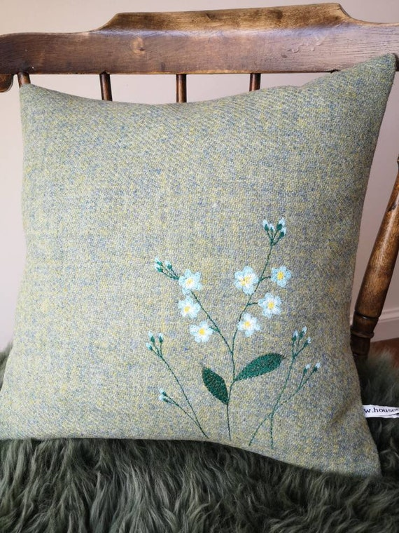 Hand Crafted Harris Tweed floral embroidered cushion cover in light green