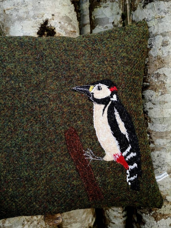 NEW Hand Crafted woodpecker bird embroidered Harris Tweed Cushion Cover