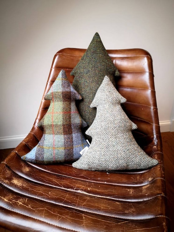 NEW Hand Crafted Harris Tweed Christmas tree Cushion Cover