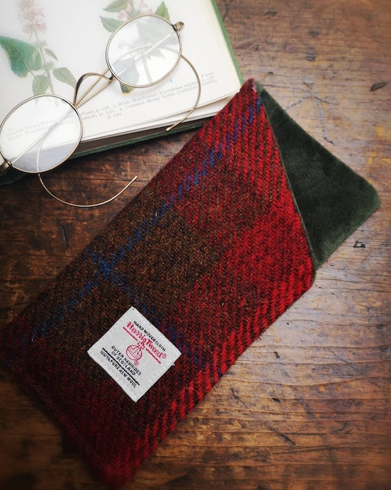 Harris Tweed and velvet glasses case