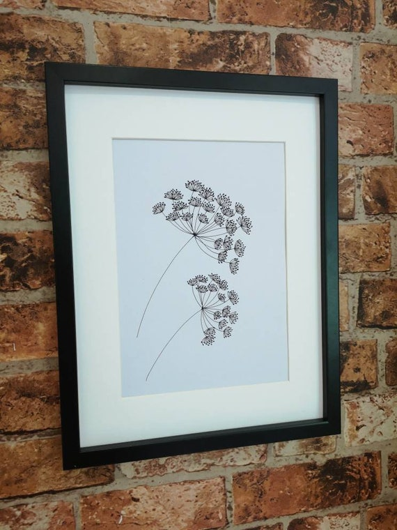 Hand drawn black and white original floral botanical picture