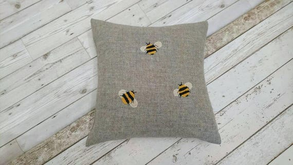 Hand Crafted Harris Tweed bee embroidered cushion cover