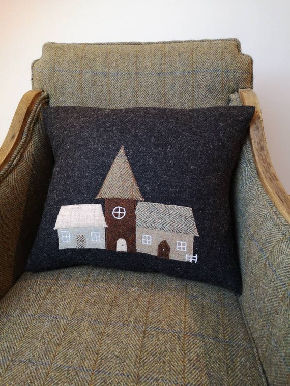 SOLD OUT New Hand crafted Harris Tweed Town House Design embroidered cushion cover.