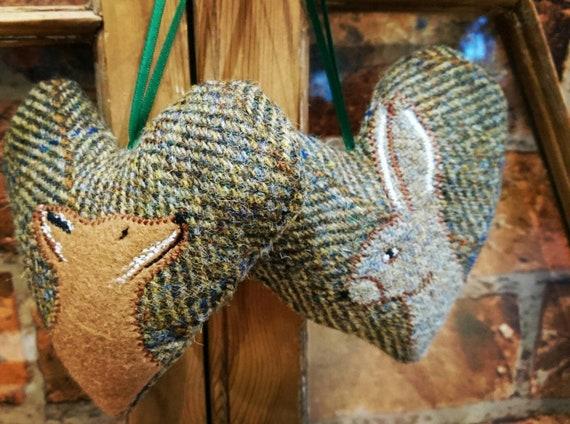 Hand crafted Harris Tweed animal design embroidered hanging heart decoration