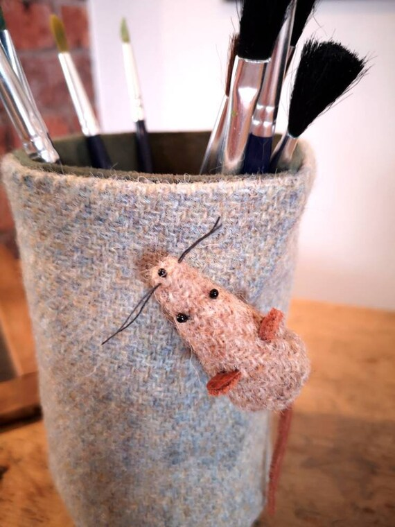 NEW Hand Crafted Harris Tweed pencil holder office organiser