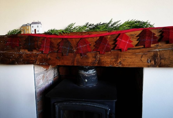 Hand made Harris Tweed Christmas trees bunting