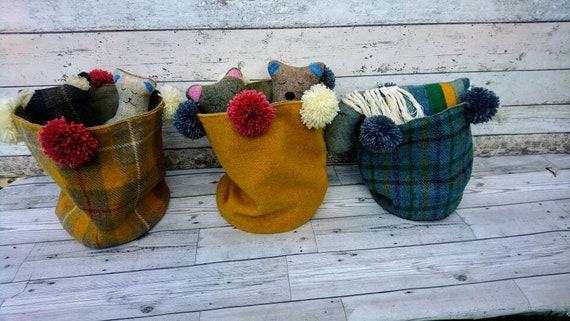 SALE Hand Crafted Harris Tweed storage bag with wool pom poms