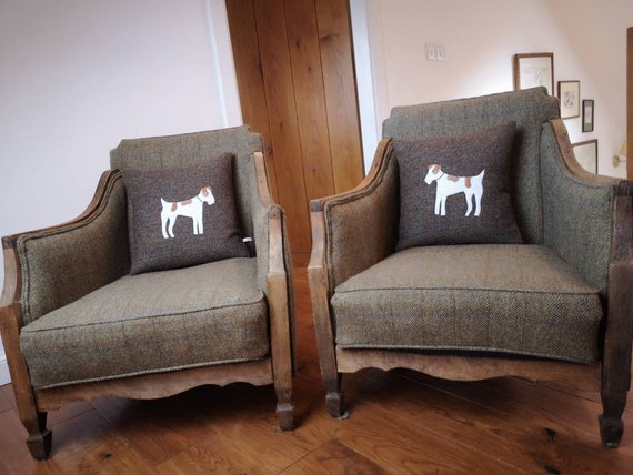 Hand Crafted Harris Tweed Terrier Dog Design Cushion cover