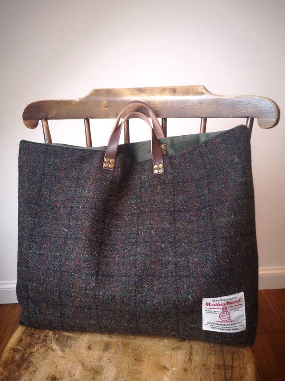 Hand Crafted Harris Tweed tote bag, shopper with real leather handles