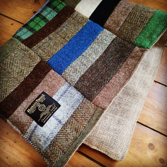 NEW Hand Crafted rustic small  Harris Tweed rug