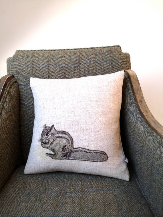 Hand Crafted Harris Tweed chipmunk embroidered Cushion cover