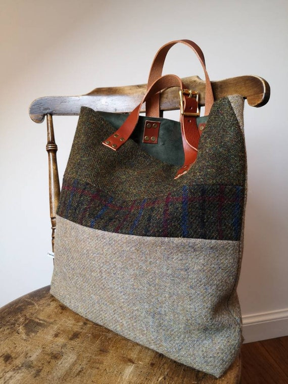 NEW Hand Crafted black Harris Tweed tote bag with real leather handles