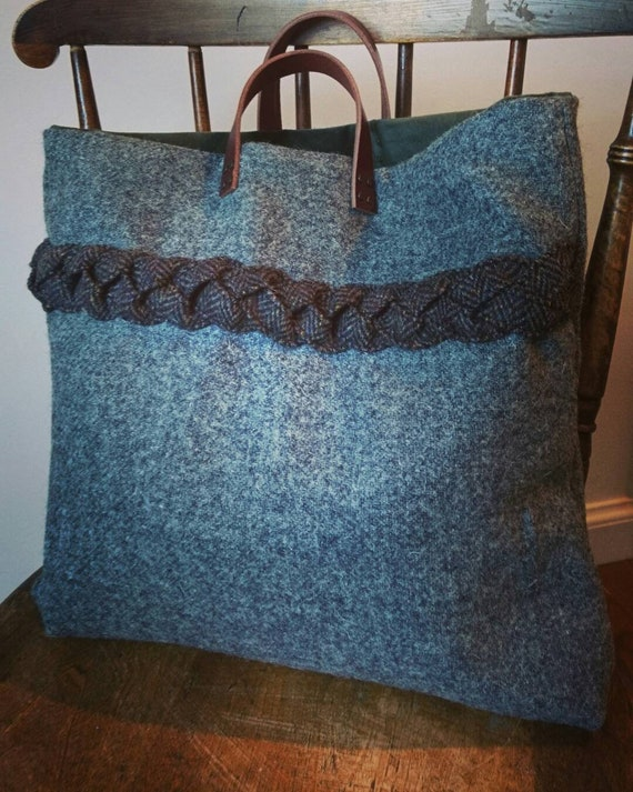 Hand Crafted Harris Tweed tote bag with real leather handles