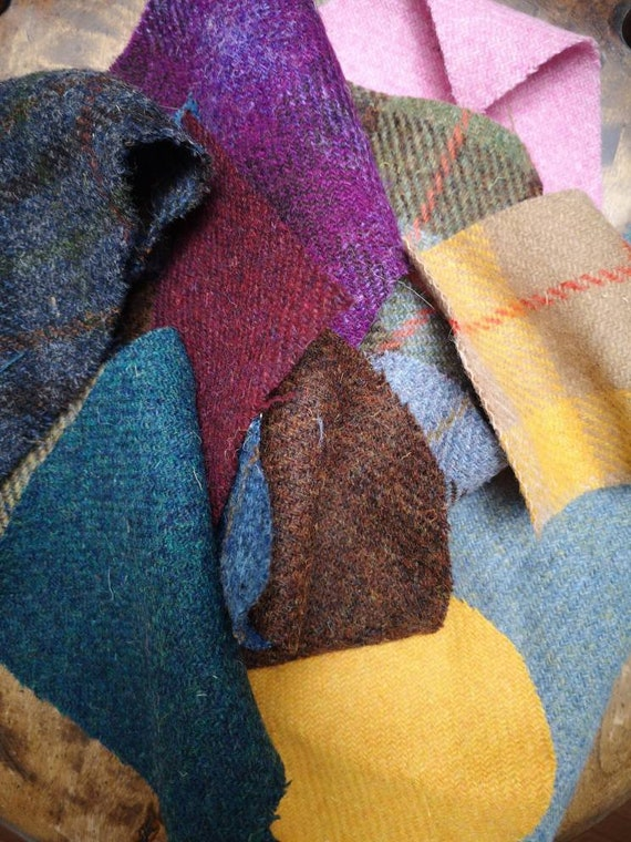 Harris Tweed remnant pieces, scraps for small craft projects