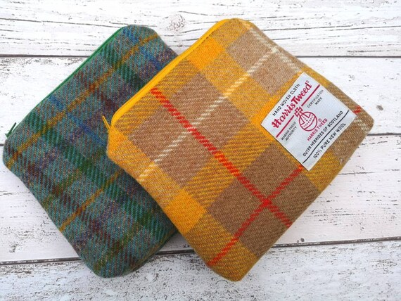 NEW Hand Crafted Harris Tweed purse, small cosmetic bag