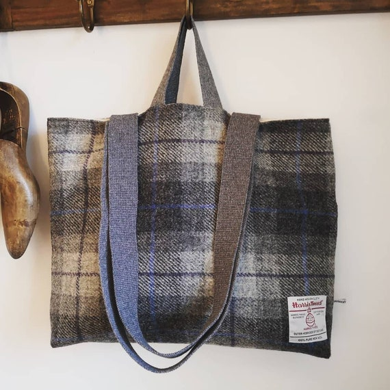 SALE Hand Crafted checked grey Harris Tweed tote bag shopper