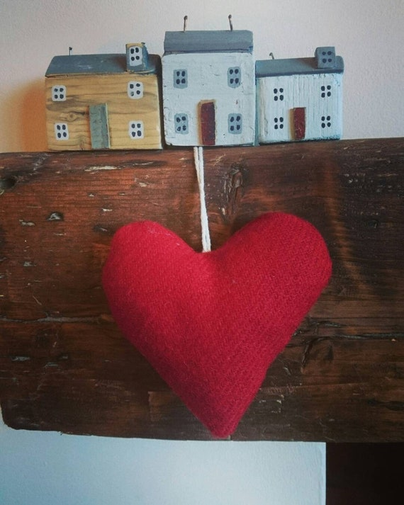 Hand crafted Harris Tweed red heart decoration.