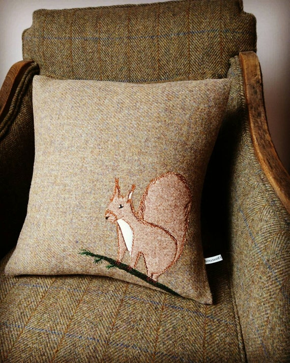 Hand Crafted Harris Tweed squirrel embroidered Cushion cover