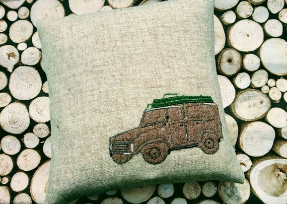 Hand Crafted Harris Tweed land rover embroidered cushion cover