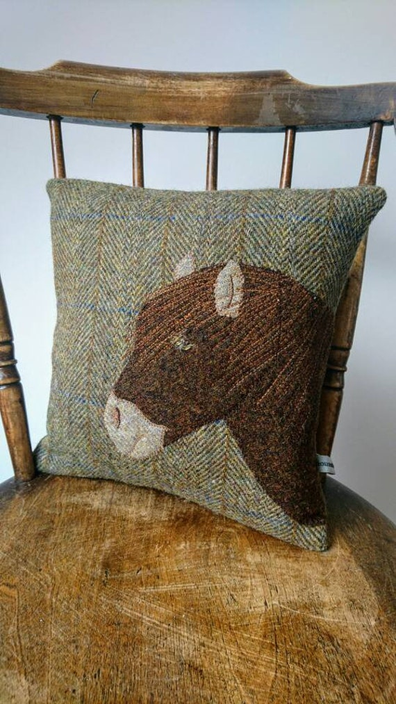 Hand crafted Harris Tweed Pony Design embroidered cushion cover.