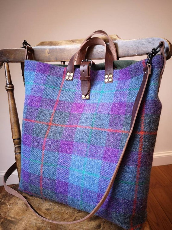 NEW Hand Crafted Harris Tweed tote bag in multicoloured check with real leather handles