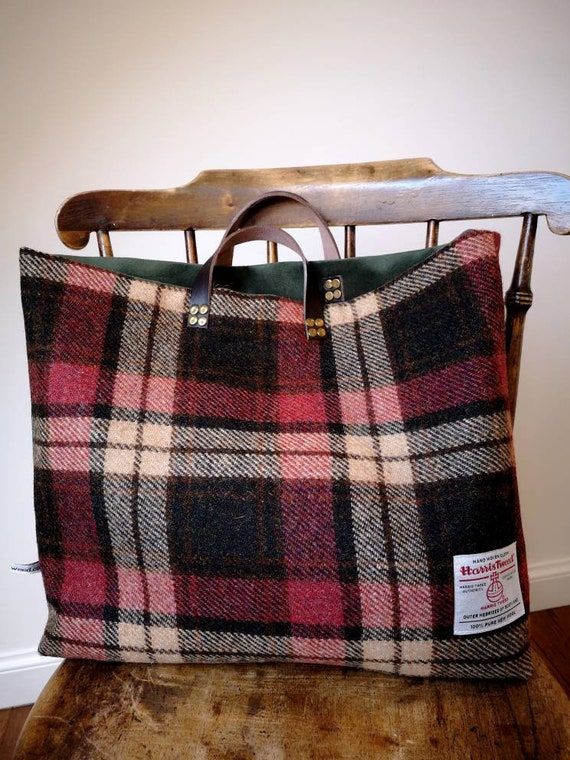 NEW Hand Crafted Harris Tweed tote bag, shopper with real leather handles