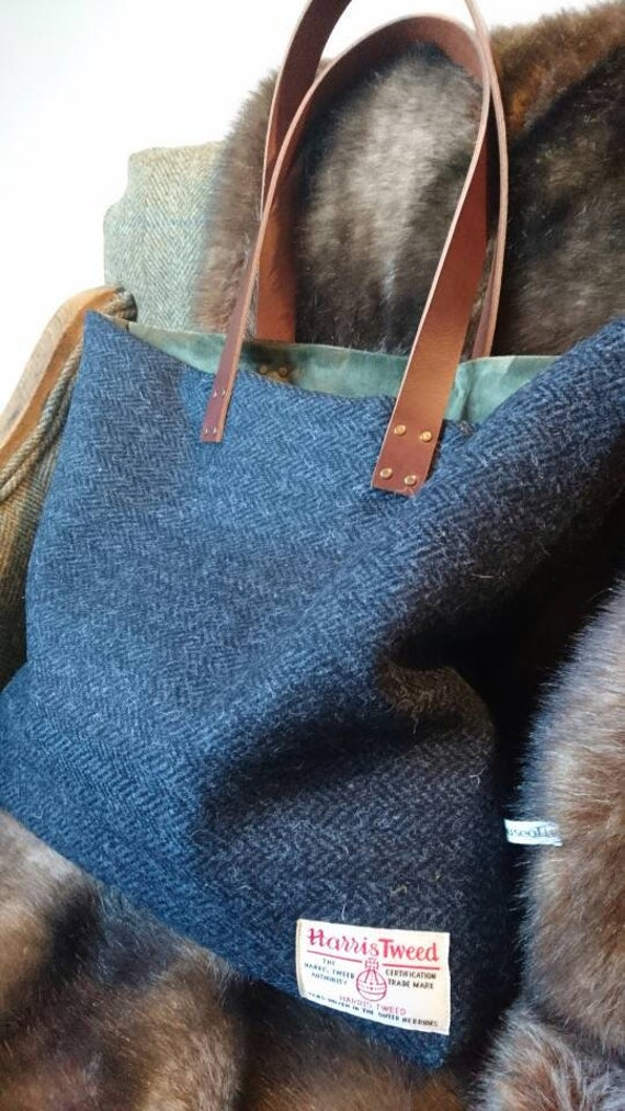 SOLD OUT Hand Crafted Harris Tweed tote bag with real leather handles coming back soon