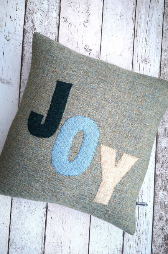 Hand Crafted Harris Tweed Joy embroidered Cushion Cover