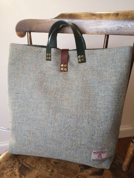 NEW Hand Crafted Harris Tweed tote bag with real leather straps
