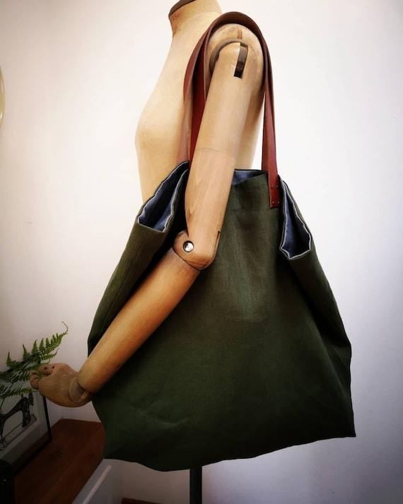 NEW Hand Crafted big linen tote bag with real leather straps