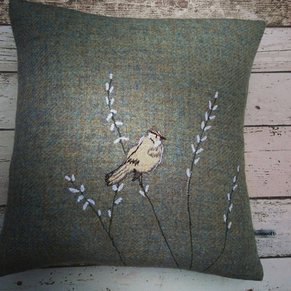 Hand Crafted Harris Tweed willow cushion cover