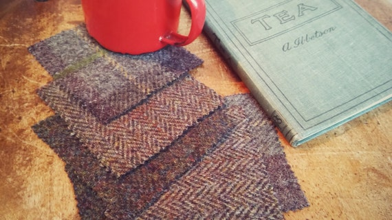 Harris Tweed coasters set of 6