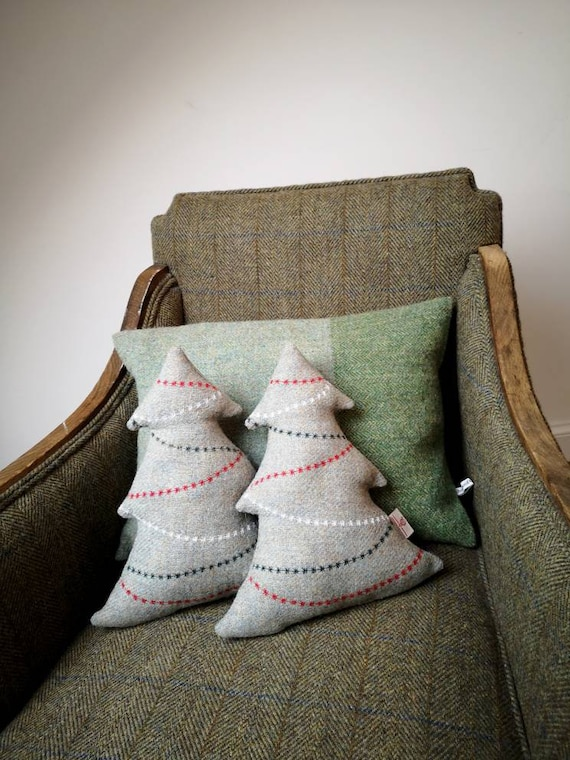 NEW Hand Crafted Harris Tweed tree Cushion with embroidery