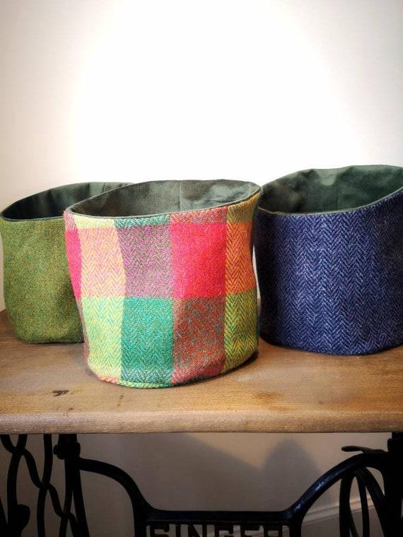 NEW Hand Crafted Harris Tweed storage solution, basket