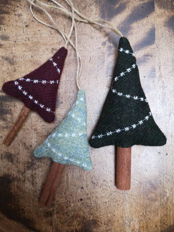 NEW Hand crafted Harris Tweed Christmas tree hanging decoration