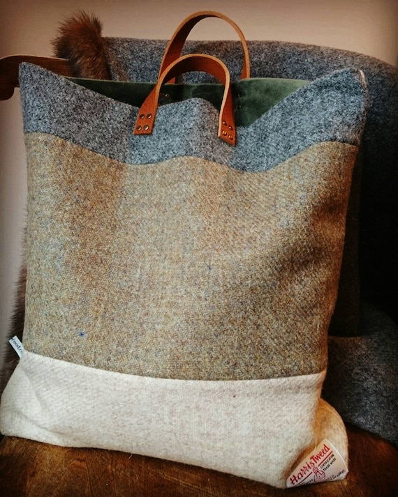 SOLD OUT Hand Crafted Harris Tweed tote bag with real leather handles
