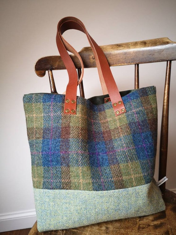 NEW Hand Crafted charcoal grey Harris Tweed tote bag with real leather handles