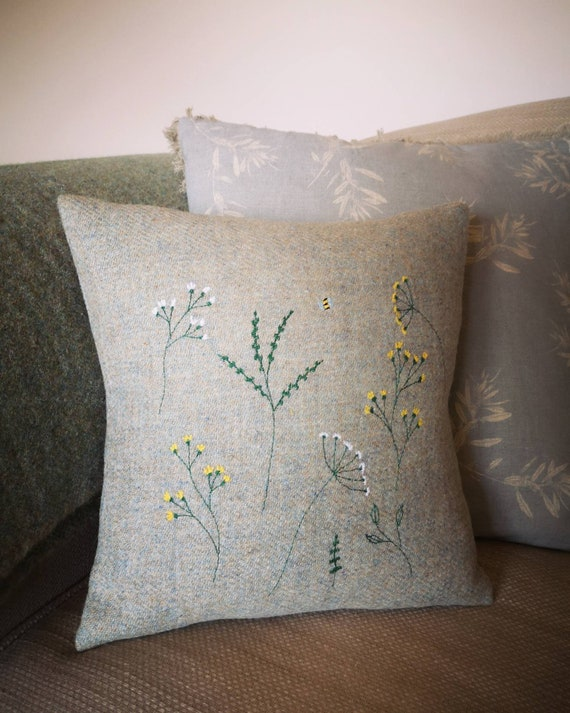 NEW Hand Crafted Harris Tweed floral embroidered cushion