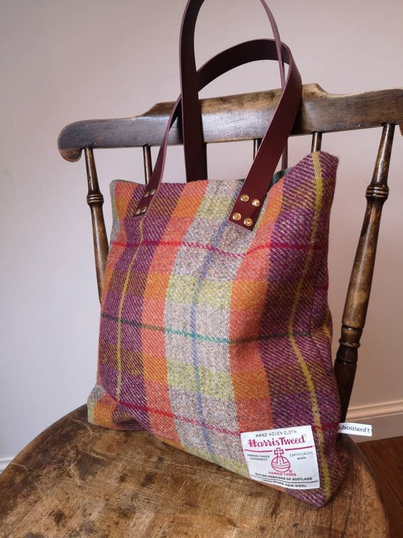 Hand Crafted Harris Tweed tote bag with real leather strap