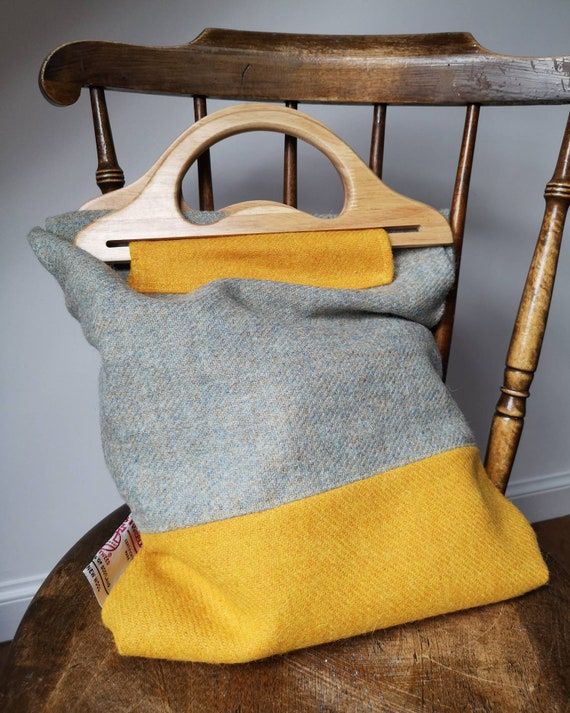 NEW Hand Crafted Harris Tweed tote bag with real wood handles