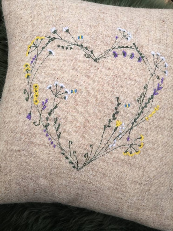 Hand Crafted Harris Tweed heart embroidered cushion cover