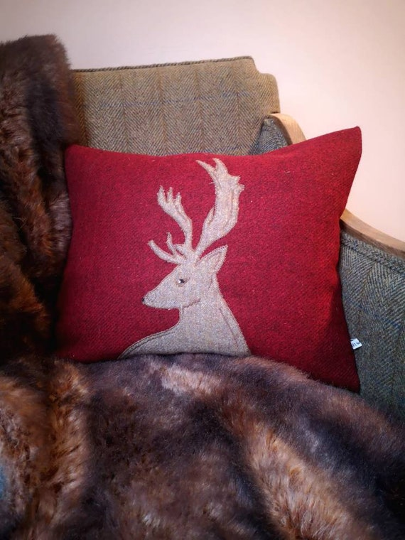 Hand Crafted Harris Tweed stag embroidered Cushion cover