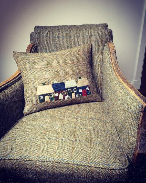 Hand crafted Harris Tweed Town House Design embroidered cushion cover.