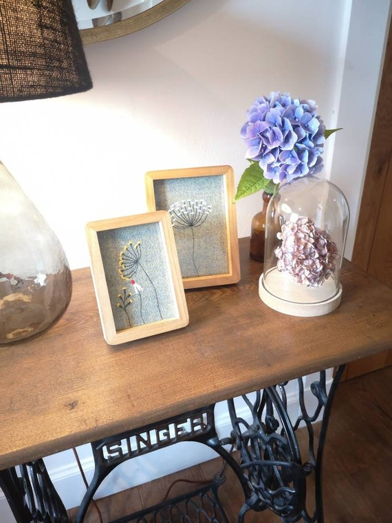 NEW Hand Crafted Harris Tweed floral embroidered framed picture