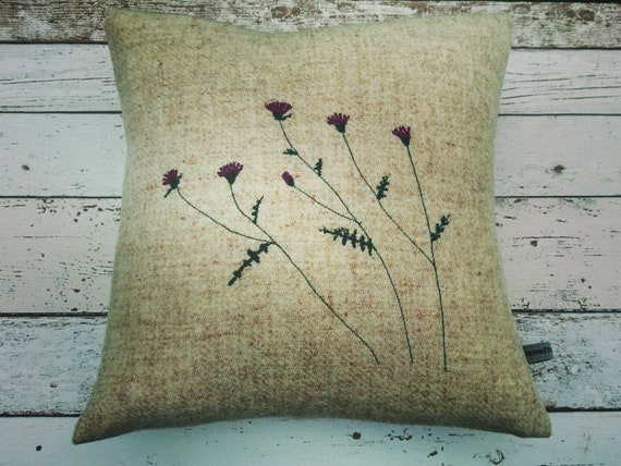 Hand Crafted Harris Tweed thistles embroidered cushion cover