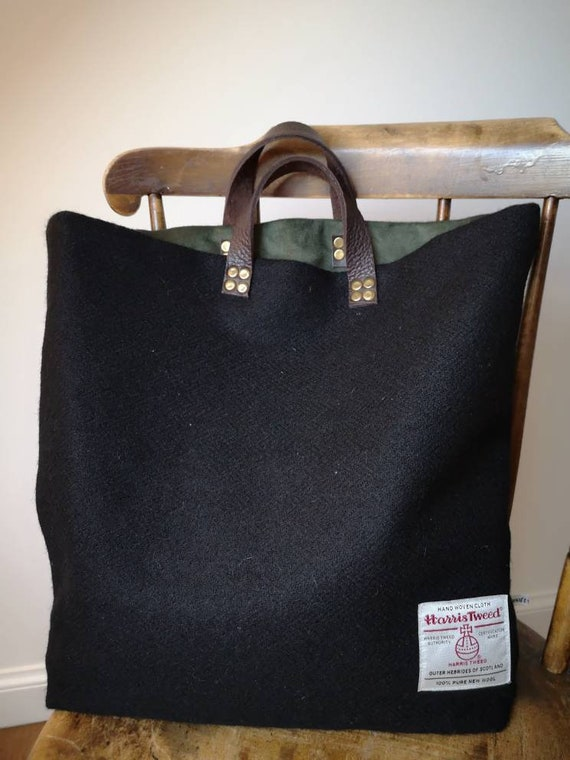 Hand Crafted black Harris Tweed tote bag with real leather handles