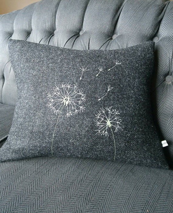Hand Crafted Harris Tweed charcoal grey embroidered cushion cover